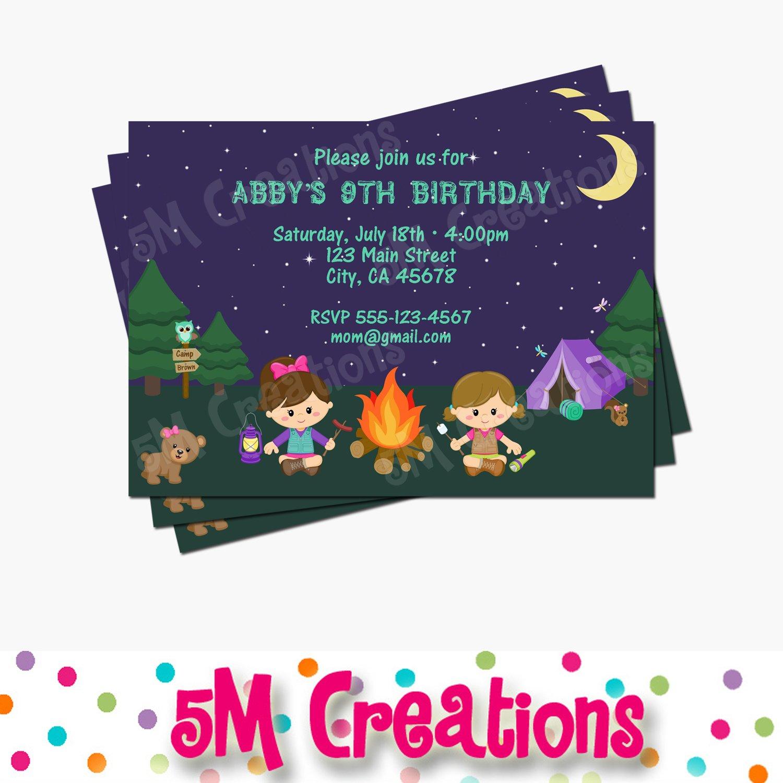 Girl Camping Birthday Party Invitation