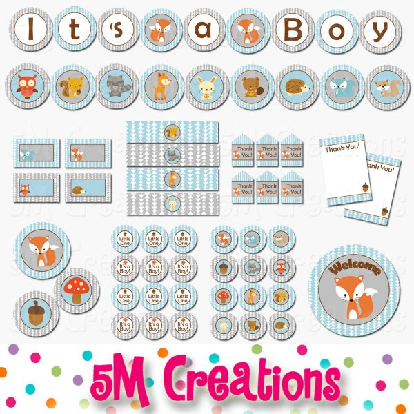 graphic about Baby Shower Printable named Fox Little one Shower Printable Decorations - Woodland Animal Child Shower - Instantaneous Down load