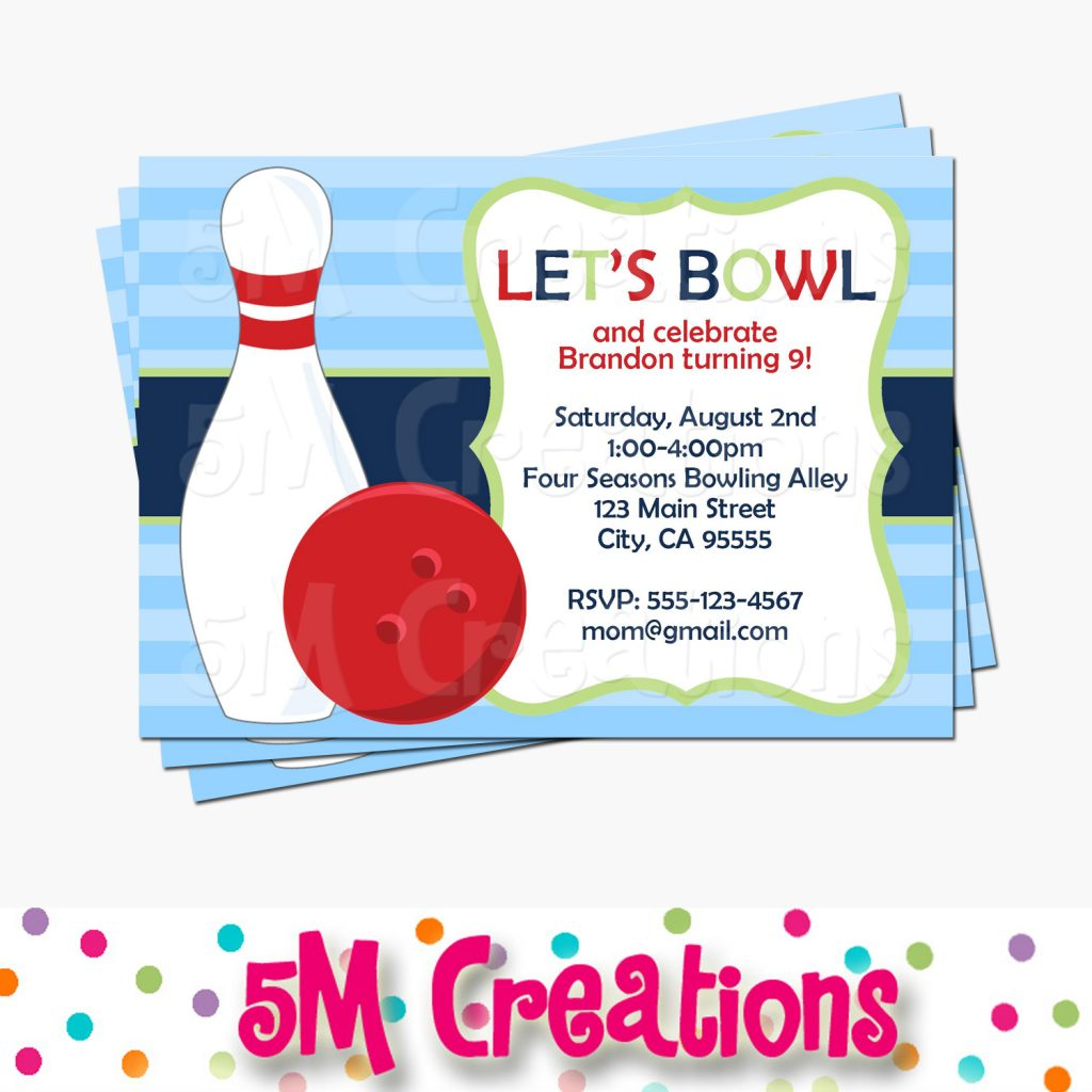 Bowling Invitation - Bowling Party Printable Party Package by 5M Creations