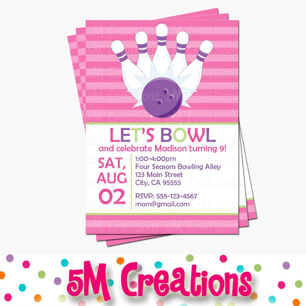 Bowling Invitation - Girl Bowling Party Printable Party Package by 5M Creations