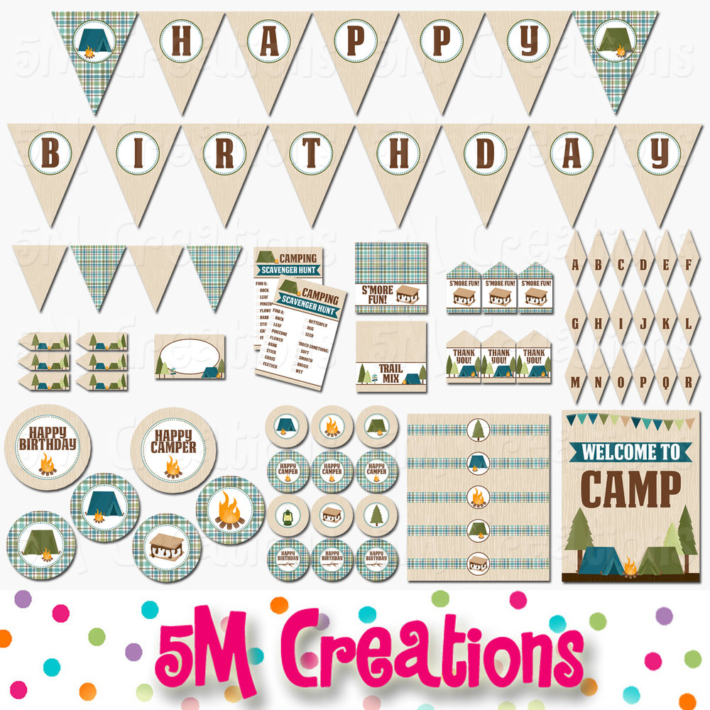 photo regarding Printable Decorations known as Tenting Birthday Social gathering Printable Decorations - Quick Down load