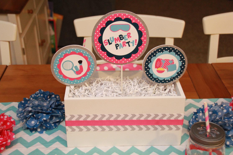 Slumber Party Printable Decorations Sleepover Birthday Party Decor