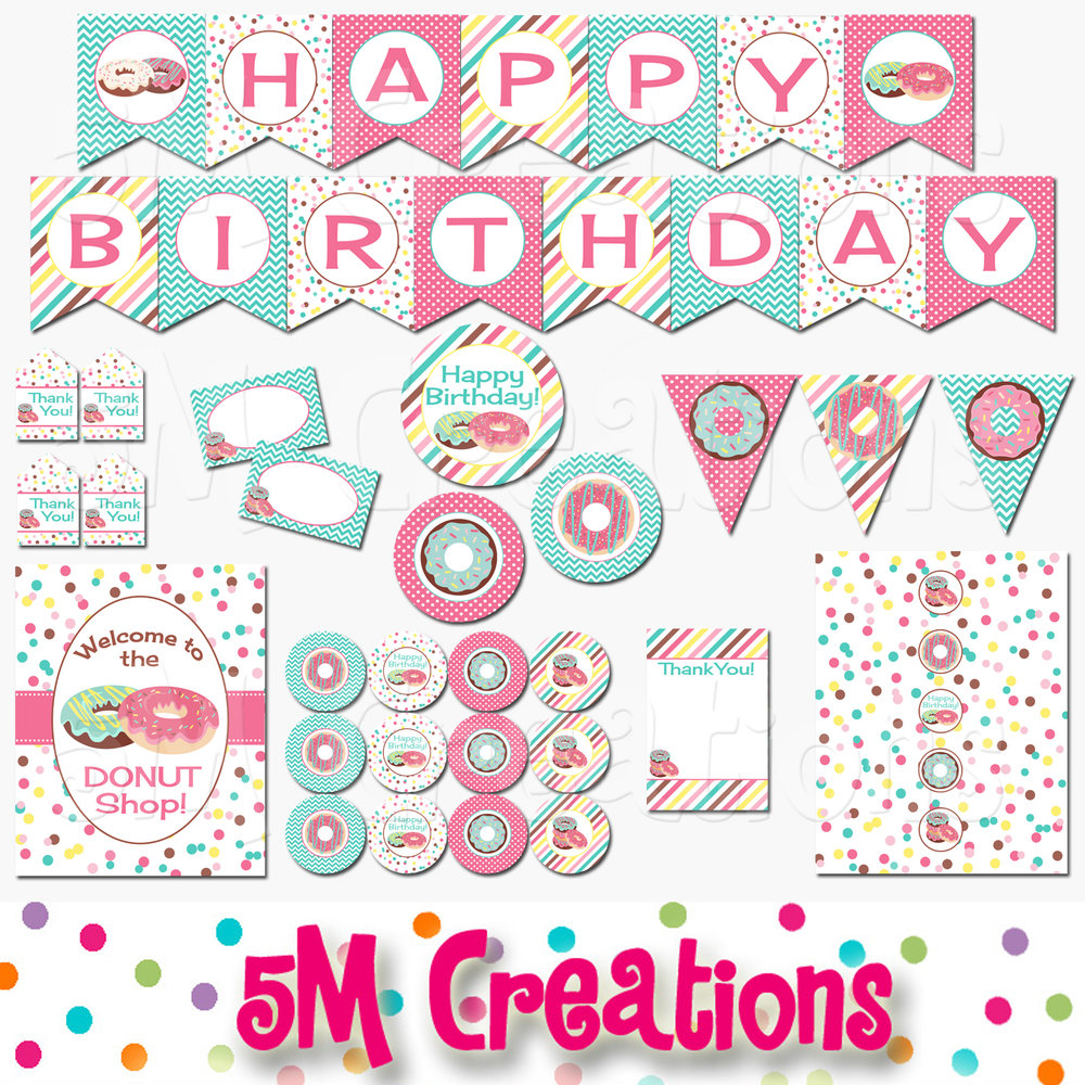 picture regarding Printable Decorations referred to as Donut Retail outlet Birthday Bash Printable Decorations - Fast Obtain