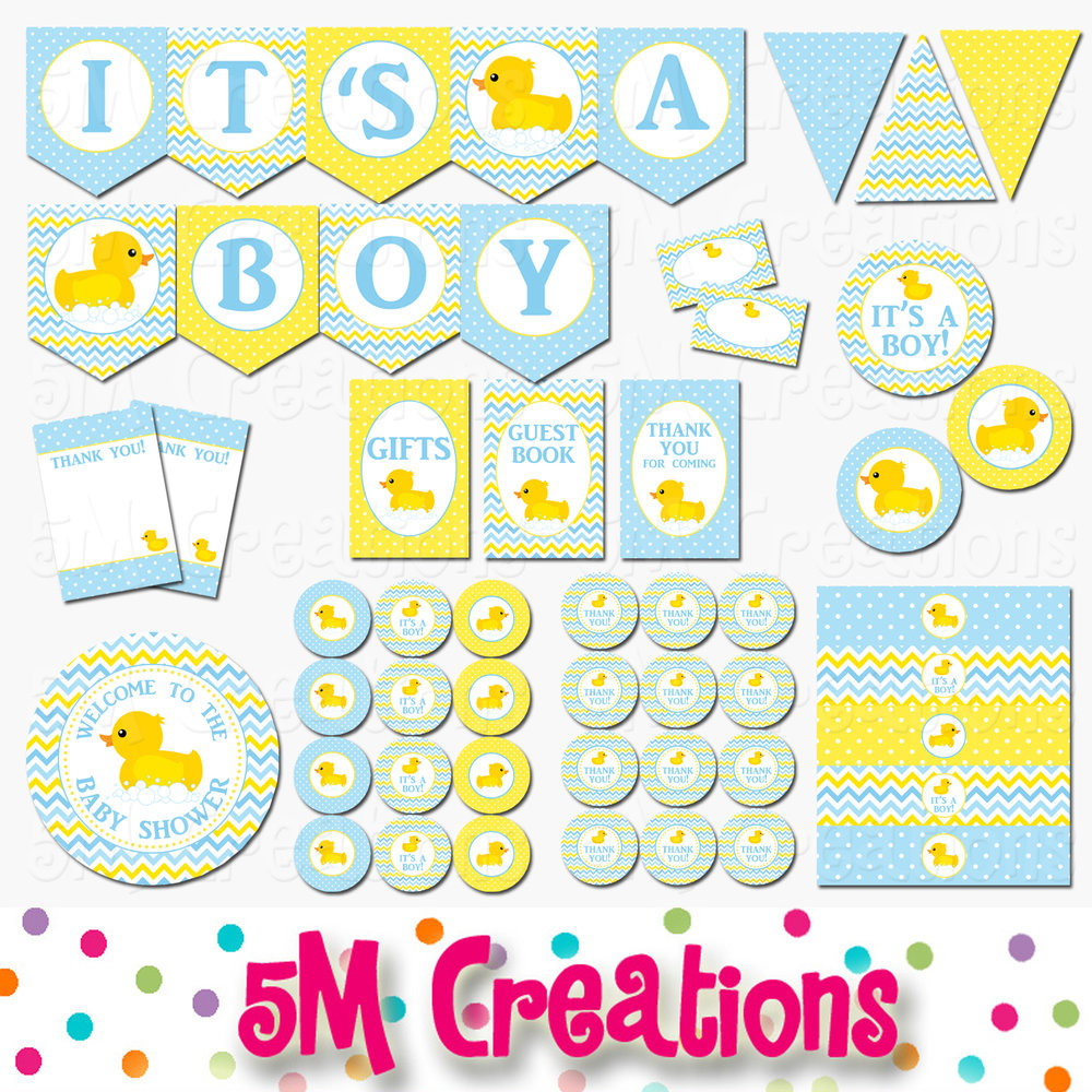 photo about Baby Shower Printable identify Rubber Ducky Child Shower Printable Decorations - Boy Boy or girl Shower - Immediate Down load