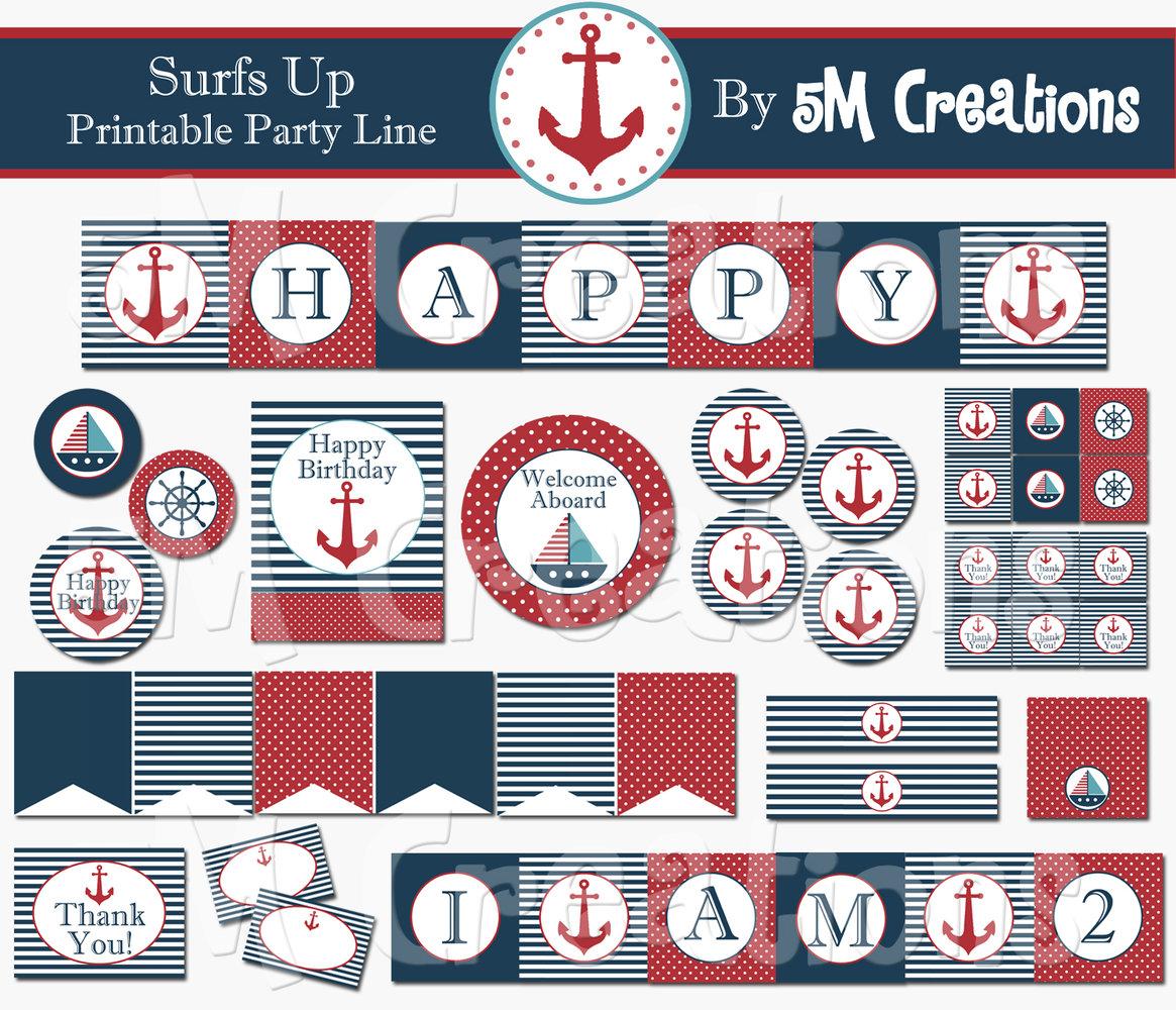 Nautical Birthday Party Printable Decorations