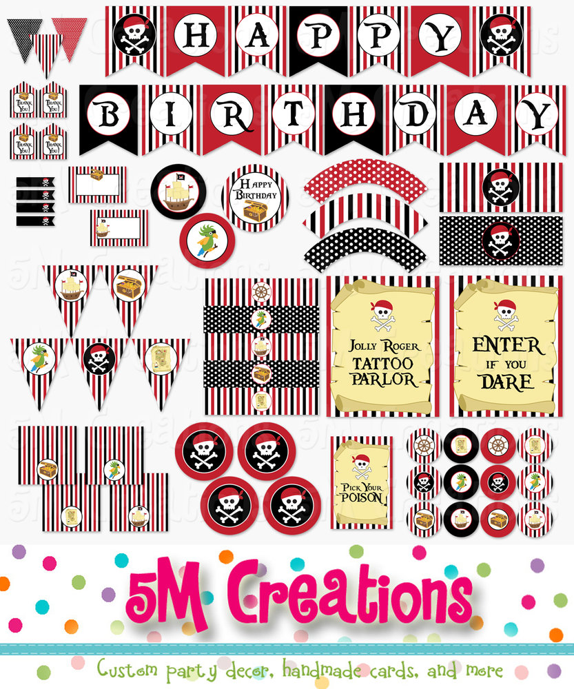 picture regarding Pirate Party Printable known as Pirate Birthday Social gathering Printable Decorations 2 - Immediate Obtain