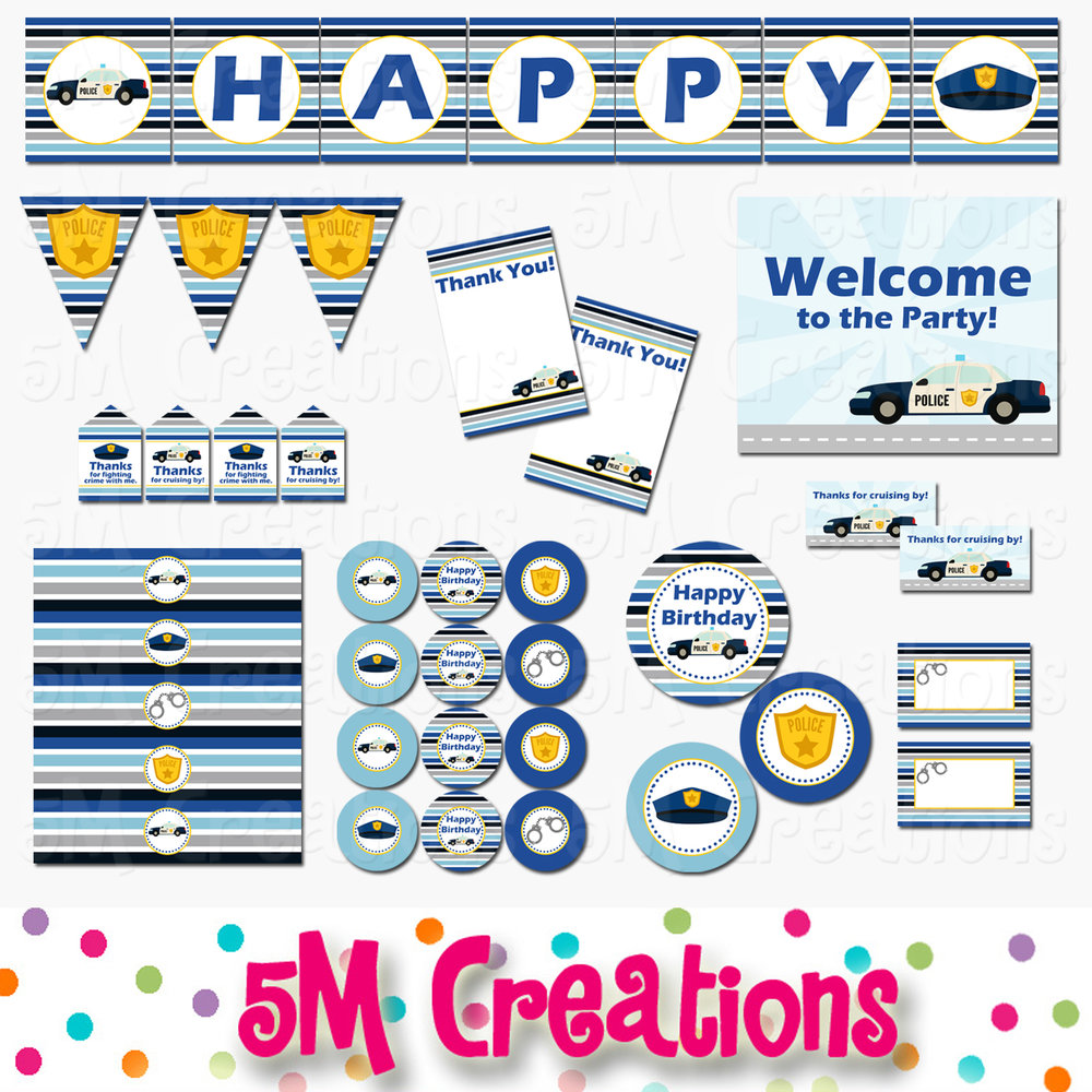 Police Birthday Party Printable Decorations