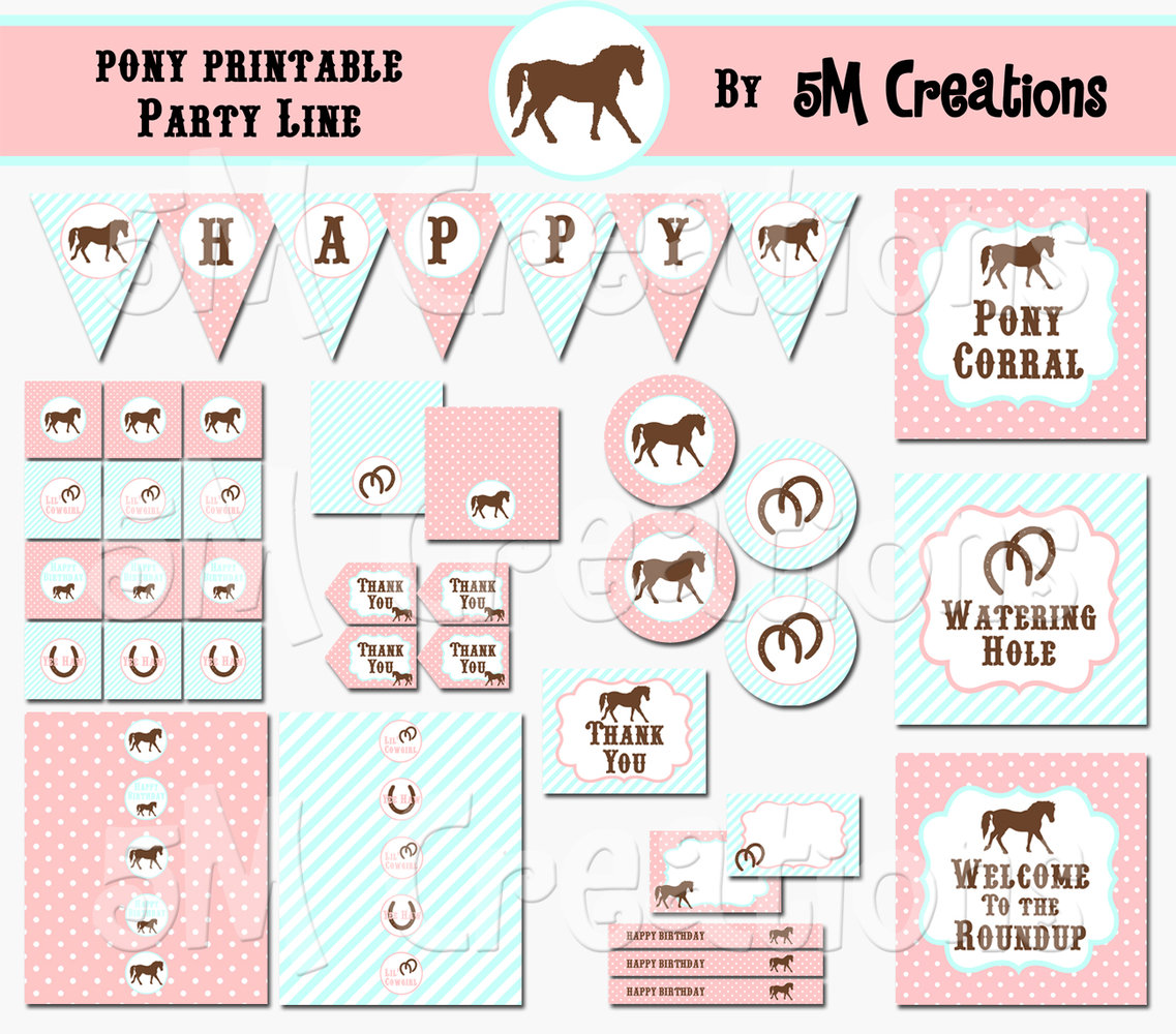 photo about Printable Party Decorations named Pony Birthday Social gathering Printable Decorations - Cowgirl Social gathering Crimson Aqua - Fast Down load