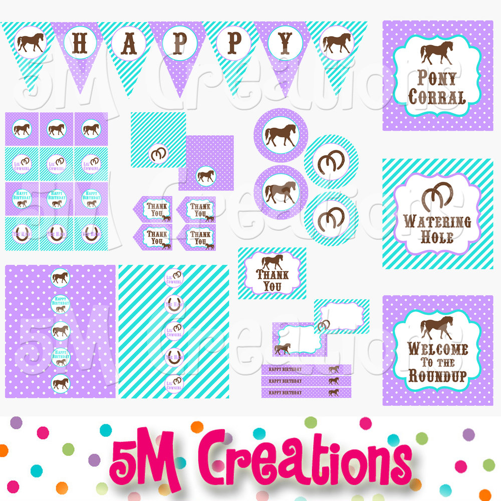 photograph relating to Printable Decorations identify Pony Birthday Get together Printable Decorations - Cowgirl Get together Pink Turquoise - Fast Obtain