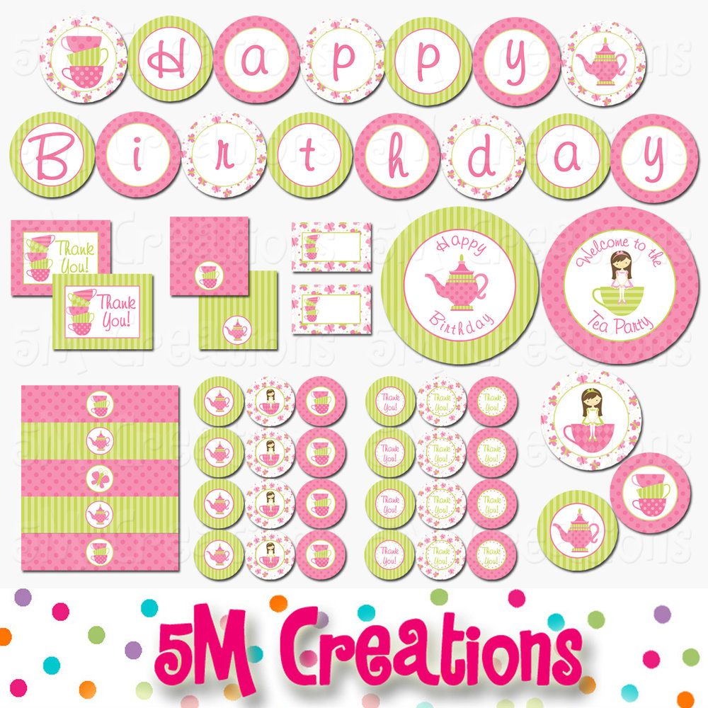 tea party printable decorations pink green instant download 5m