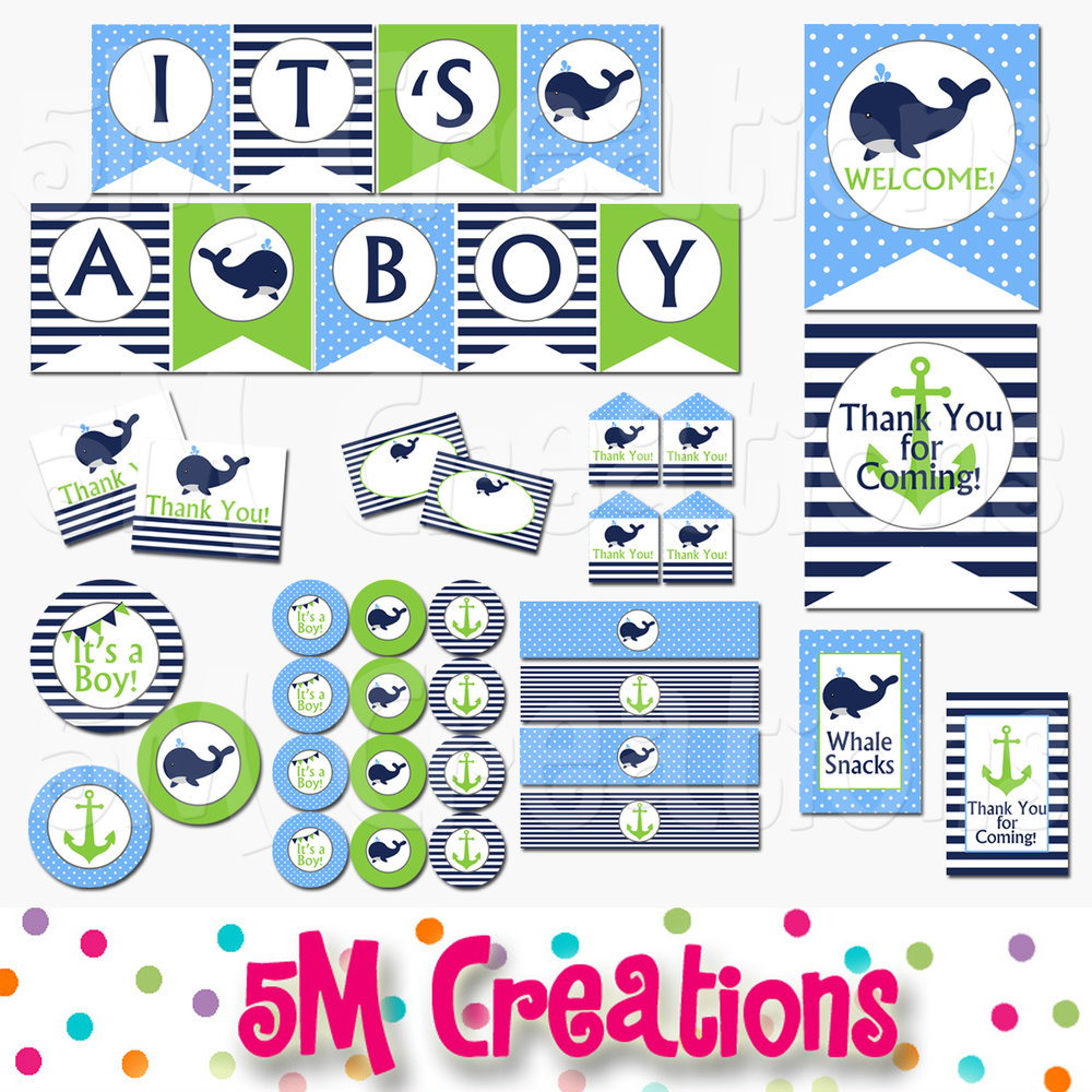 picture about Printable Baby Shower named Whale Little one Shower Printable Decorations - Boy Nautical Youngster Shower Eco-friendly- Fast Obtain