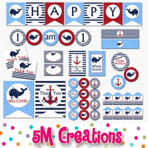 whale printable party red blue