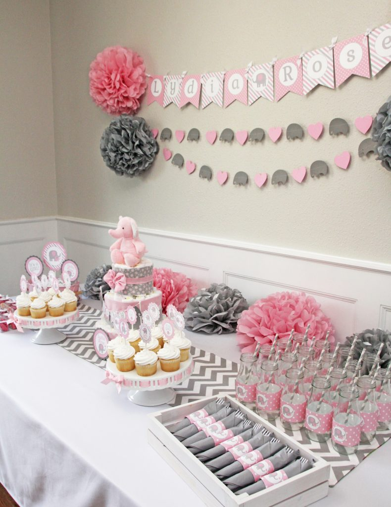 Girl Elephant Baby Shower Pink And Gray 5m Creations Blog