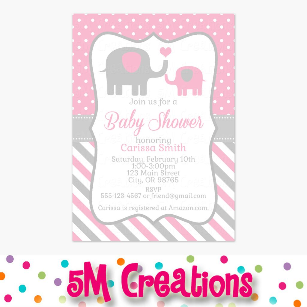 Girl Elephant Baby Shower – Pink and Gray – 5M Creations Blog