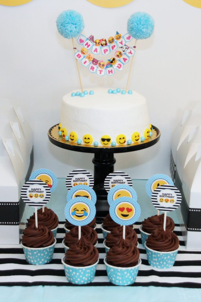 A Simple White Store Bought Cake Is Dressed Up With Cute Emoji Sugar Candies And Mini Birthday Banner