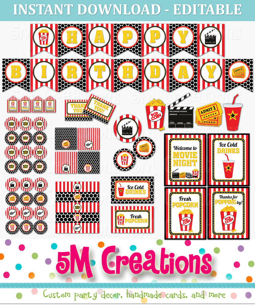 Movie Party Printables Movie Props Printable Mary Poppins Theme Party Decor Party Printables Party INSTANT DOWNLOAD Movie Inspired